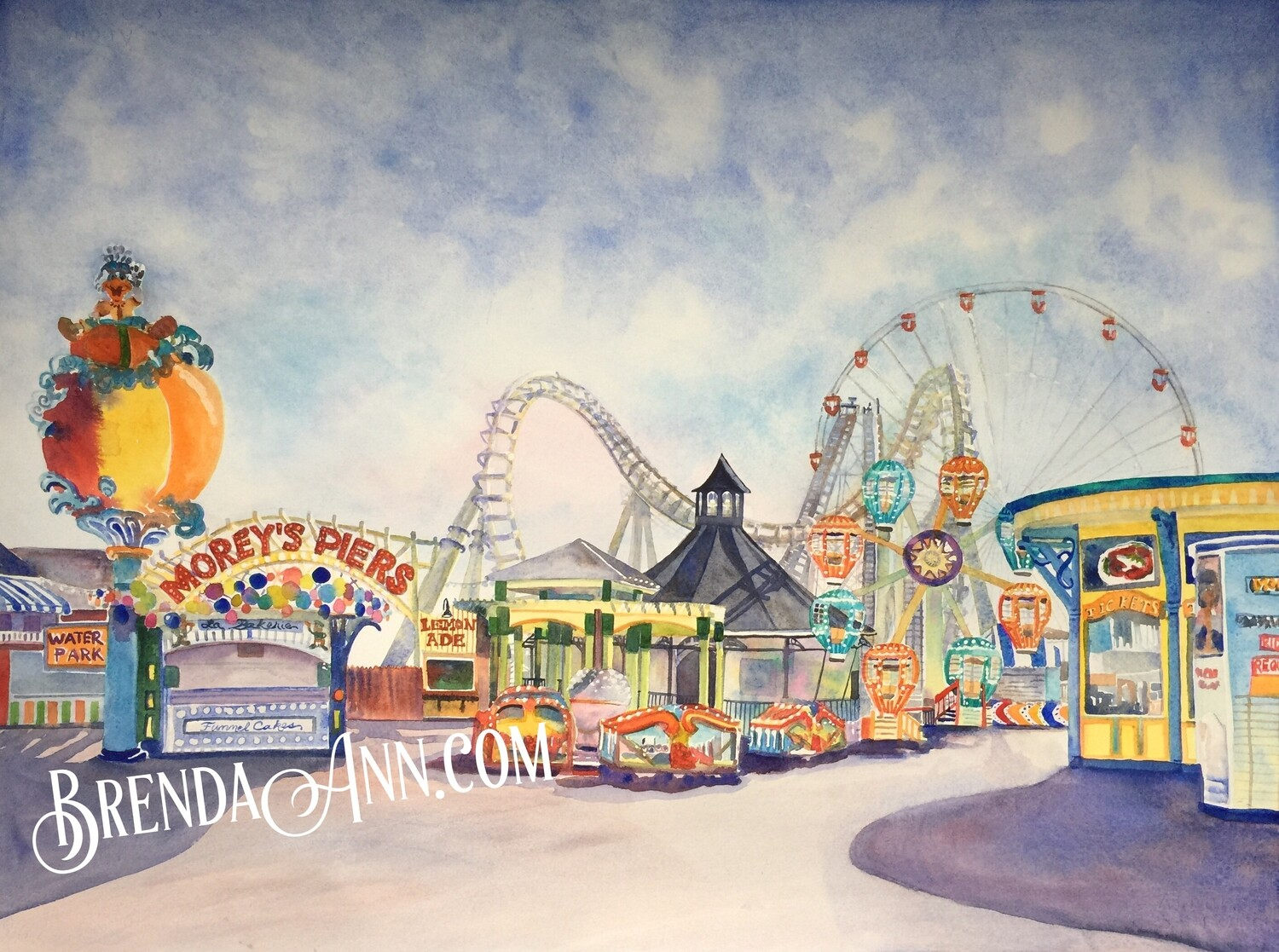 Wildwood Summer - Morey's Pier - Hand Signed Archival Watercolor Print