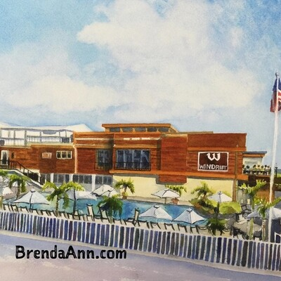 Windrift Hotel in Avalon, NJ - Hand Signed Archival Watercolor Print
