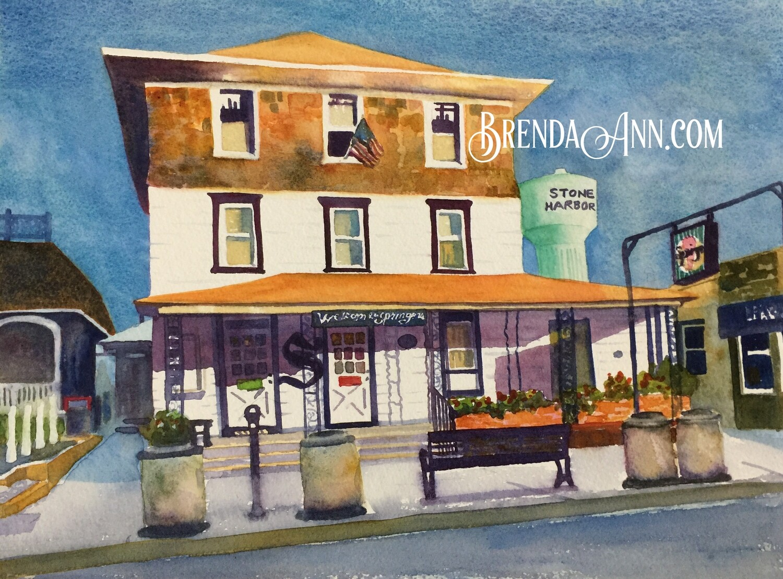 Springer's Ice Cream in Stone Harbor, NJ - Hand Signed Archival Watercolor Print