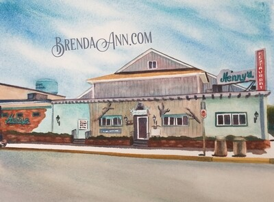 Henny's in Stone Harbor NJ - Hand Signed Archival Watercolor Print