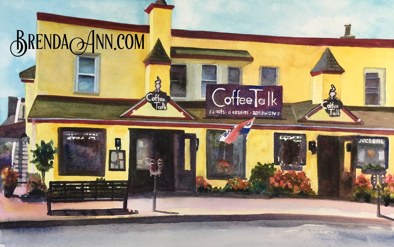 Coffee Talk in Stone Harbor, NJ - Hand Signed Archival Watercolor Print