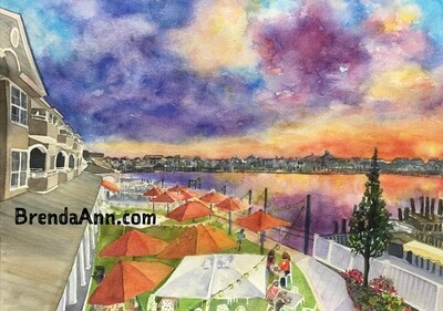 The Reeds at Shelter Haven Bayside in Stone Harbor NJ - Hand Signed Archival Watercolor Print