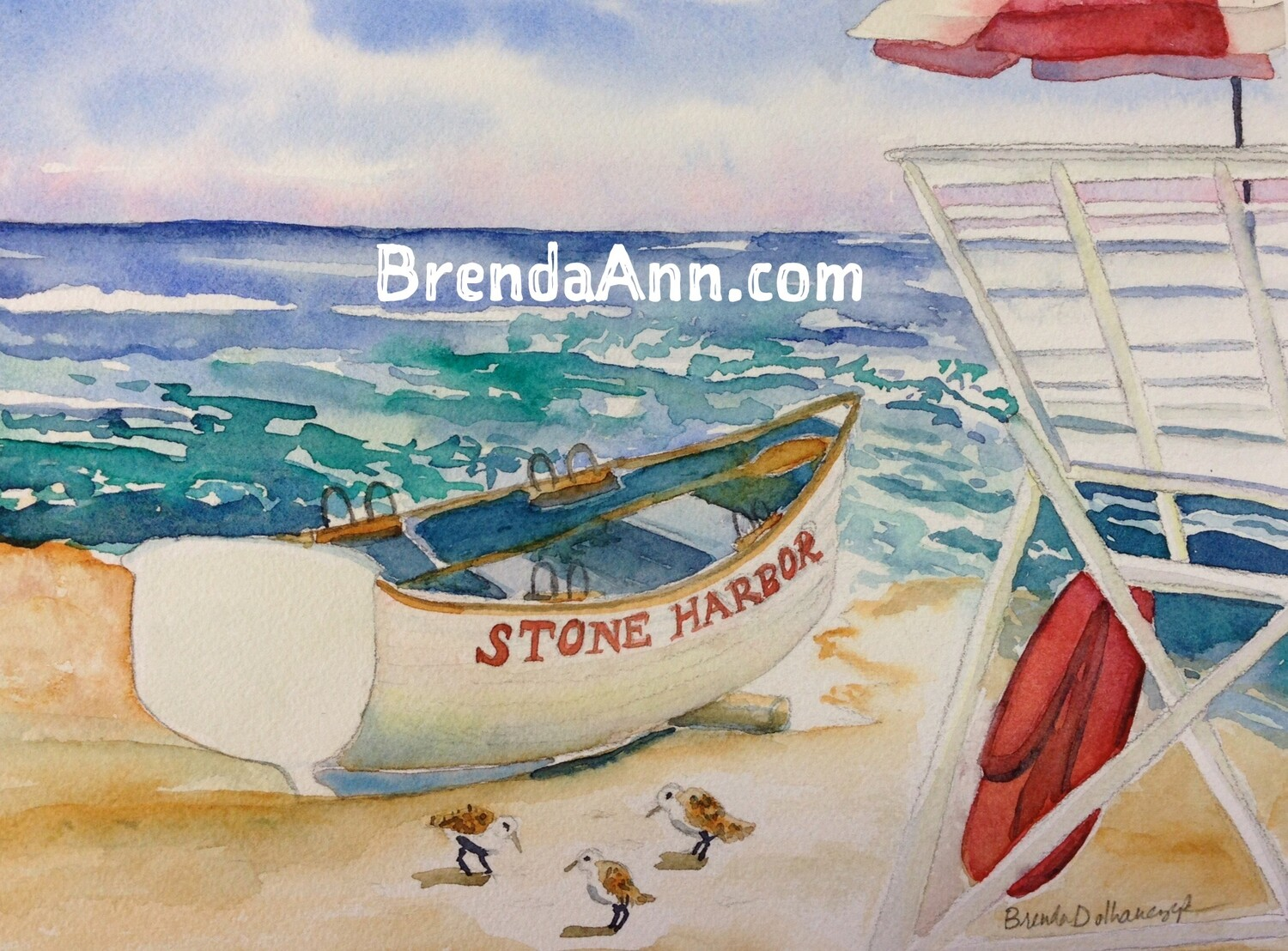 Lifeguard Boat on the Beach in Stone Harbor, NJ - Hand Signed Archival Watercolor Print