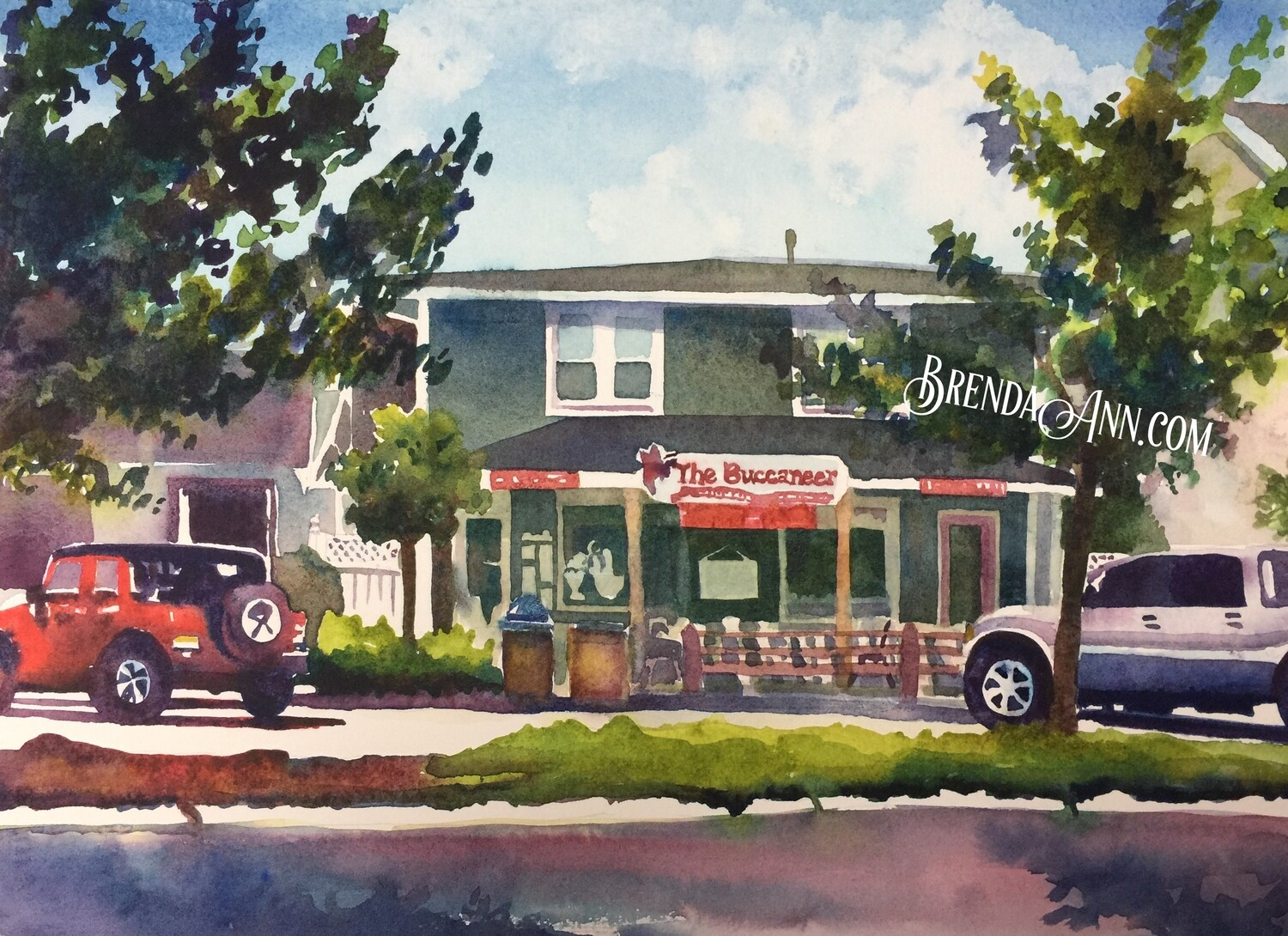 Buccaneer Ice Cream Parlor in Avalon, NJ - Hand Signed Archival Watercolor Print