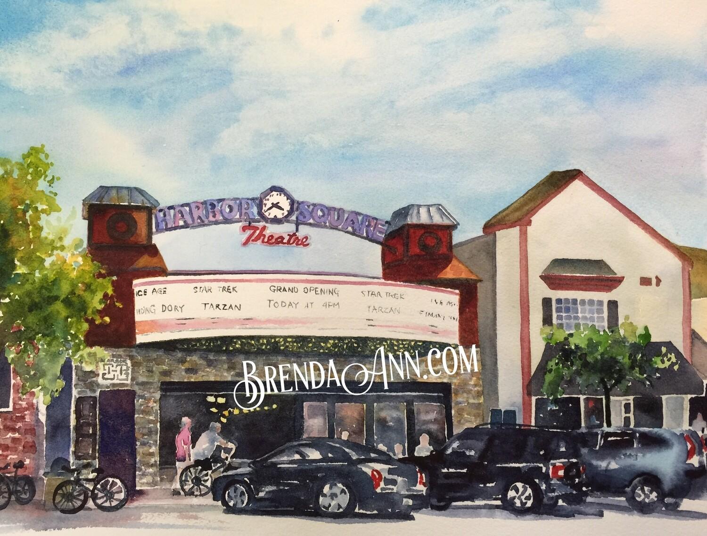 Harbor Square Theatre in Stone Harbor, NJ - Hand Signed Archival Watercolor Print