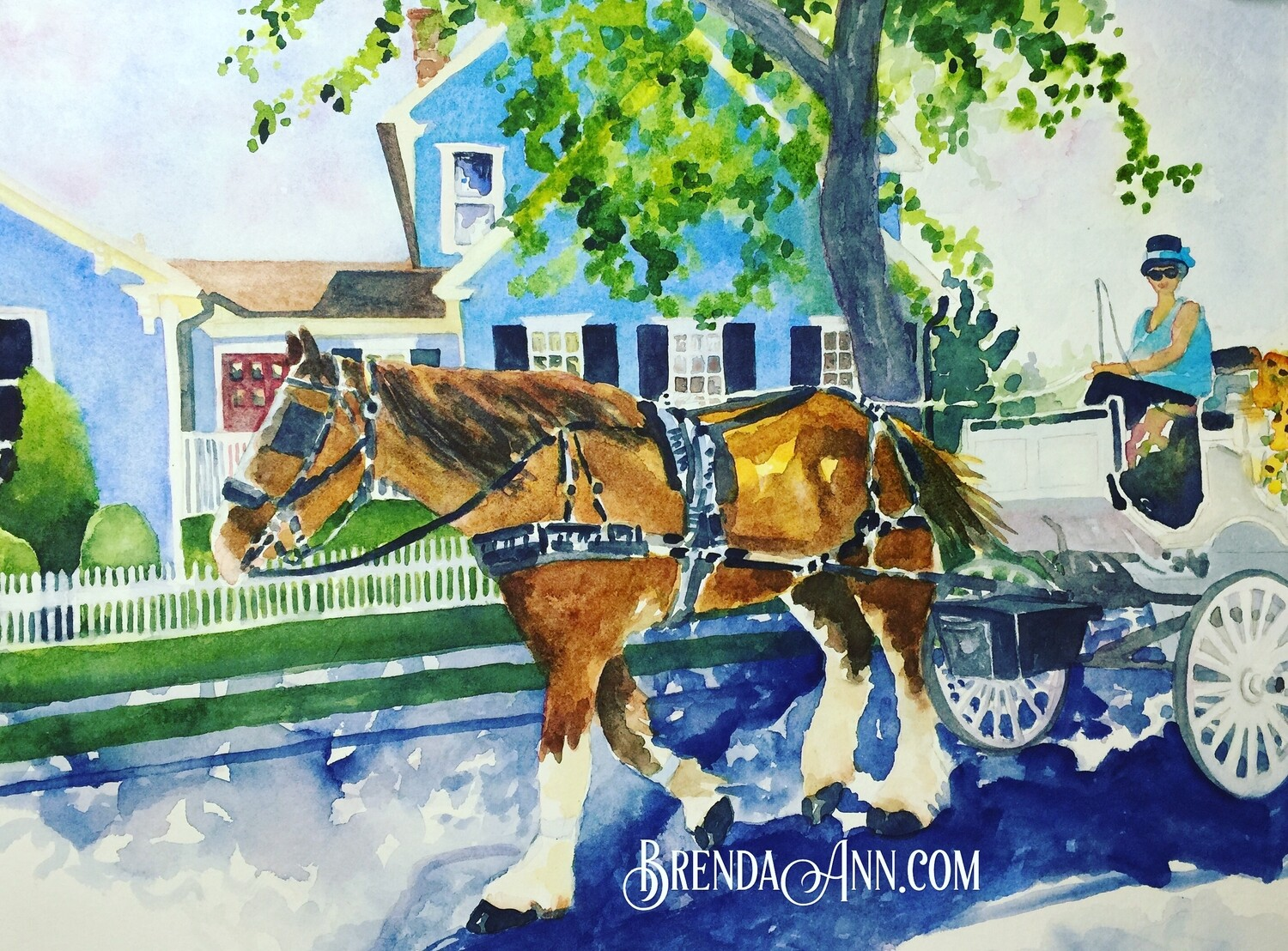 Carriage Ride in Cape May, NJ - Hand Signed Archival Watercolor Print