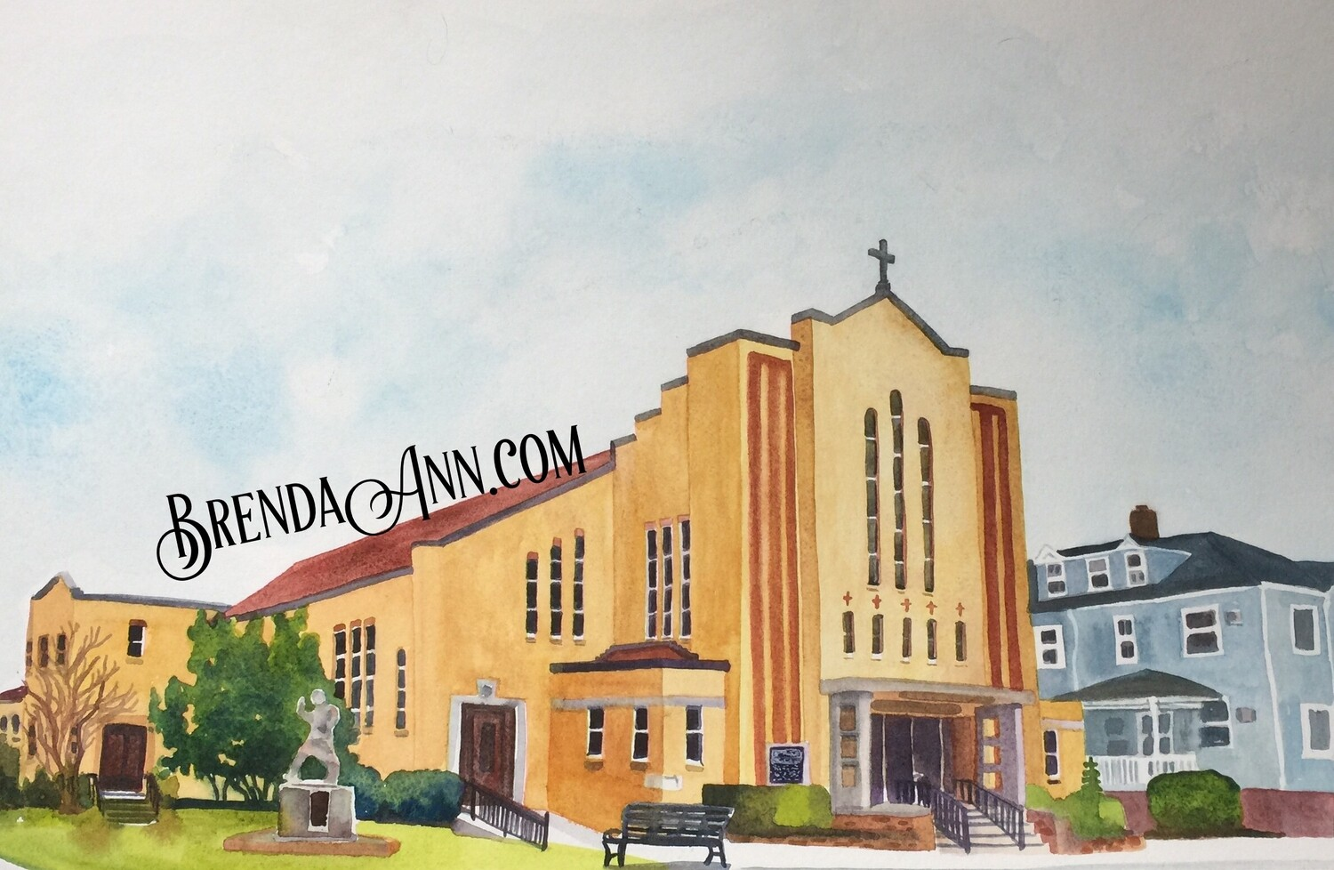 St. Paul's Church in Stone Harbor, NJ - Hand Signed Archival Watercolor Print