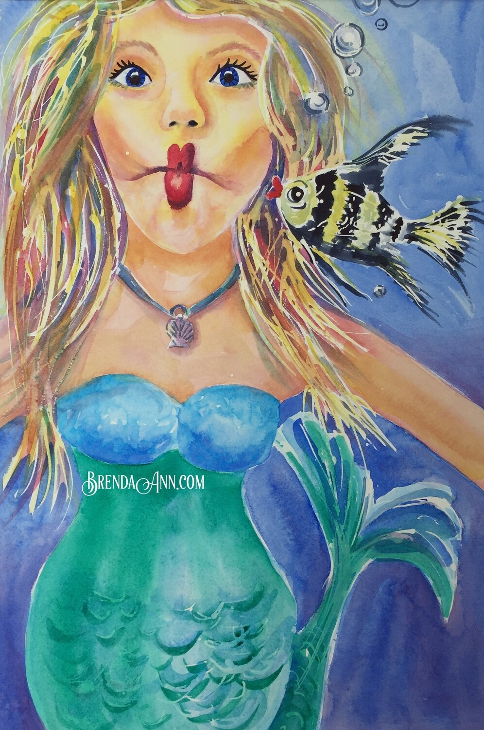 Kissy Fish Mermaid - Hand Signed Archival Watercolor Print