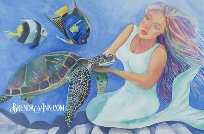 Motherly Love Mermaid - Hand Signed Archival Watercolor Print