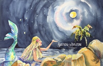 Moonglow Mermaid - Hand Signed Archival Watercolor Print