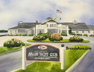 Avalon Yacht Club in Avalon, NJ - Hand Signed Archival Watercolor Print