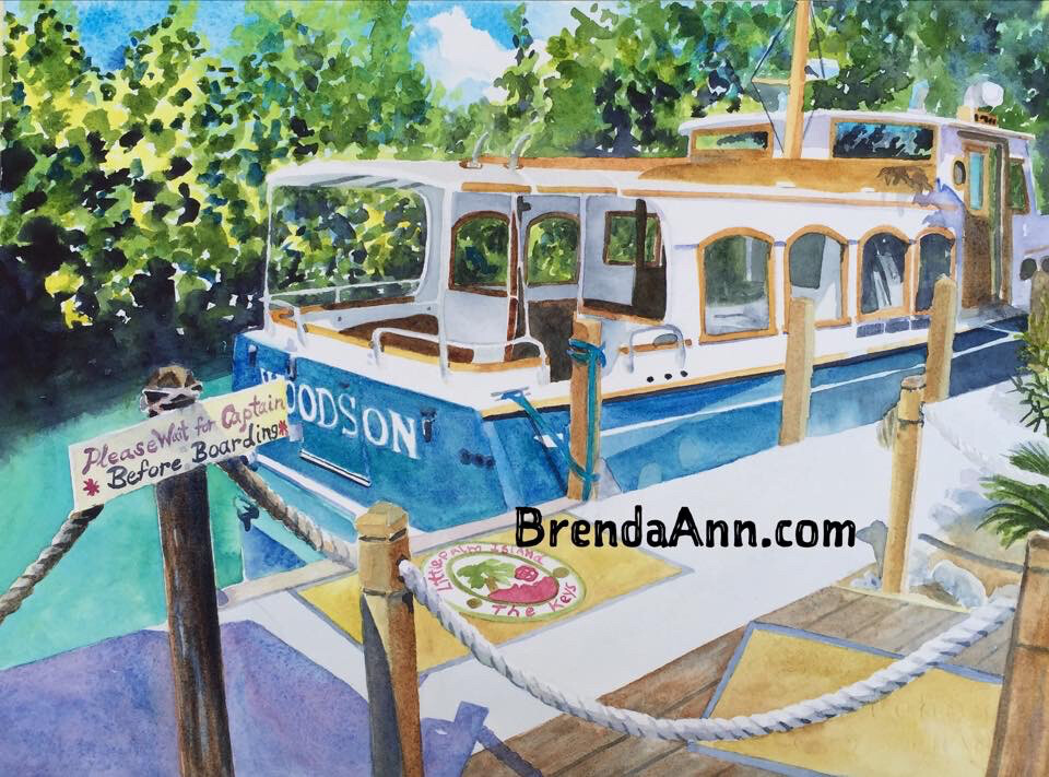 Little Palm Island Boat in the Florida Keys - Hand Signed Archival Watercolor Print