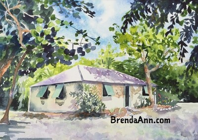 Crane Point Historic Adderley House in Marathon, FL - Hand Signed Archival Watercolor Print