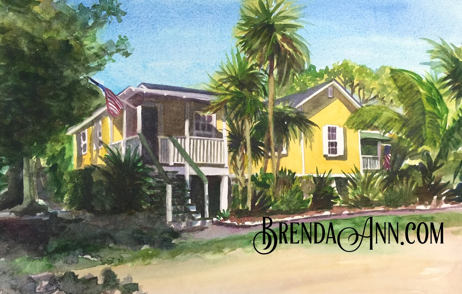 Pigeon Key Yellow Cottage in the Florida Keys - Hand Signed Archival Watercolor Print