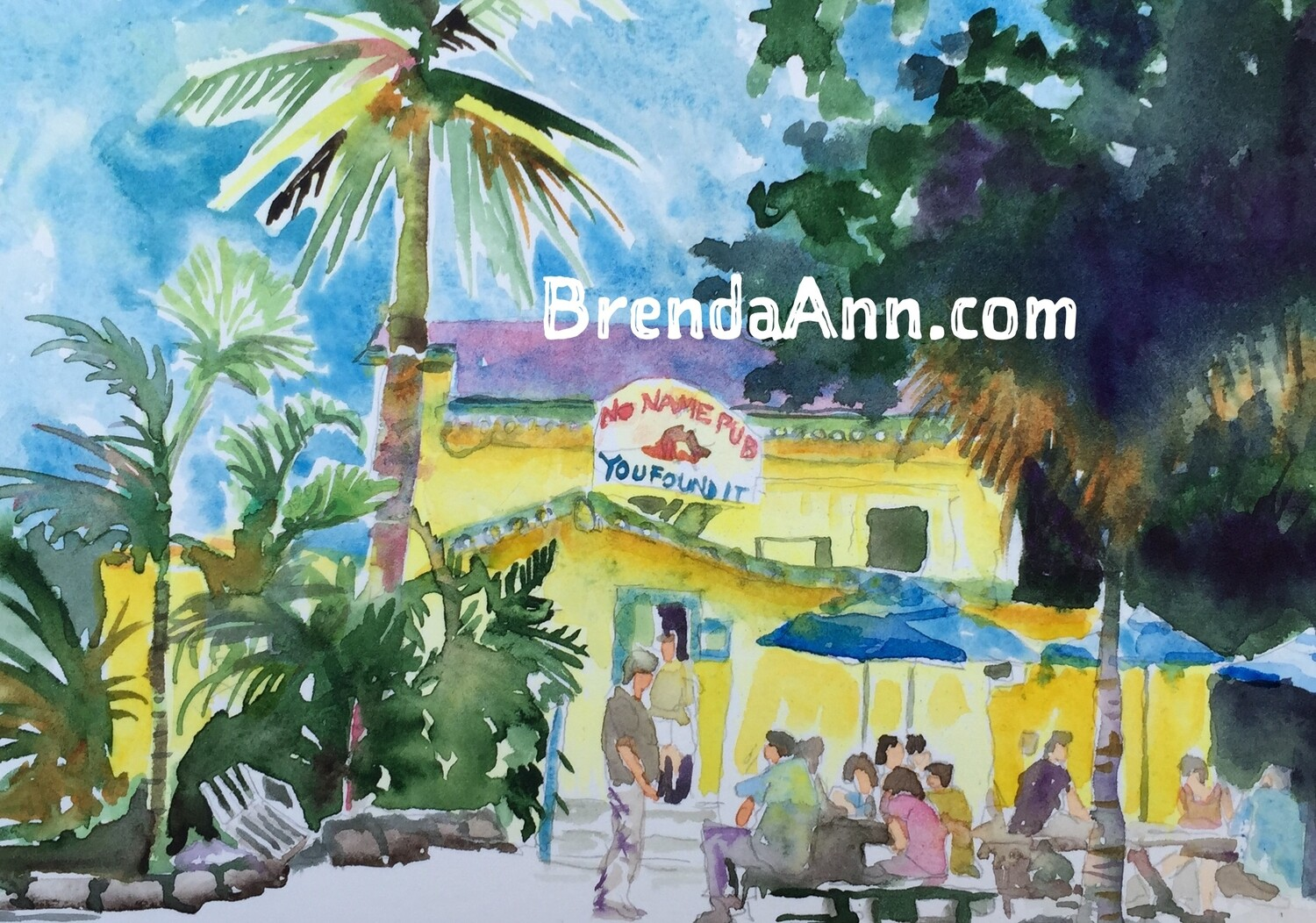 No Name Pub in the Florida Keys - Hand Signed Archival Watercolor Print