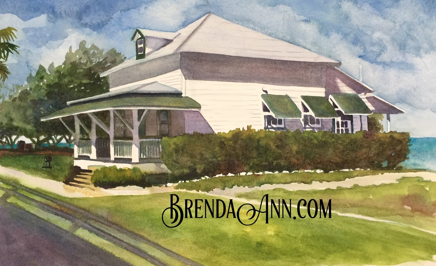 Pigeon Key Guest Cottage in the Florida Keys - Hand Signed Archival Watercolor Print
