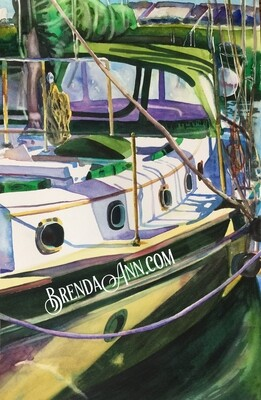The Journey Boat in the Florida Keys - Hand Signed Archival Watercolor Print