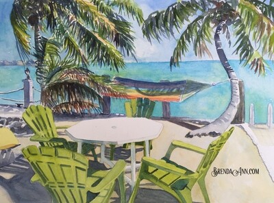 Hammocks and Adirondacks in Key West, FL - Hand Signed Archival Watercolor Print
