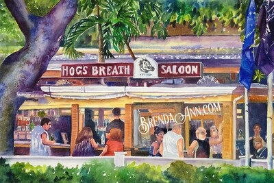 Hog's Breath Saloon in Key West, FL - Hand Signed Archival Watercolor Print