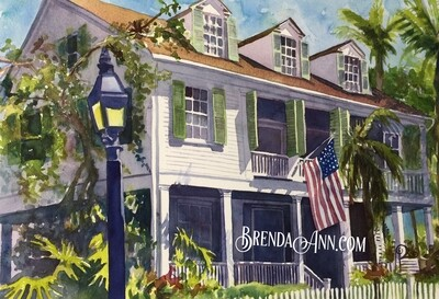 Audubon House in Key West, FL - Hand Signed Archival Watercolor Print