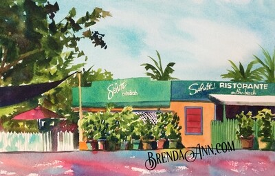 Saluté! On The Beach in Key West, FL - Hand Signed Archival Watercolor Print