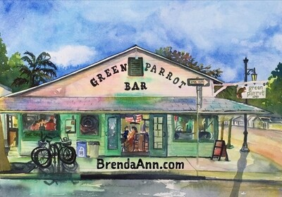 Green Parrot Bar in Key West, FL - Hand Signed Archival Watercolor Print