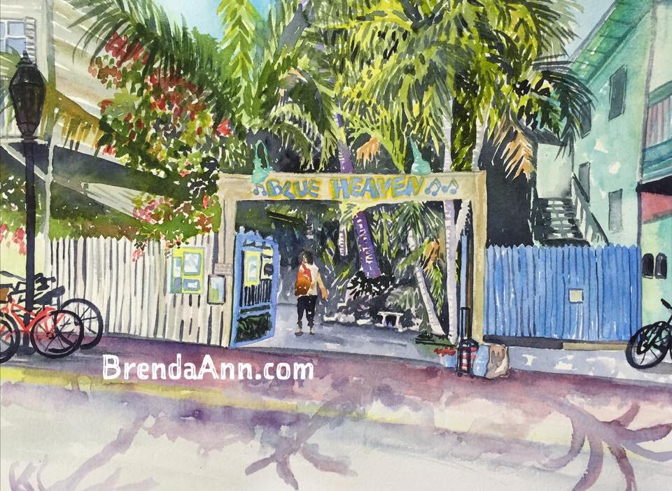 Blue Heaven in Key West, FL - Hand Signed Archival Watercolor Print
