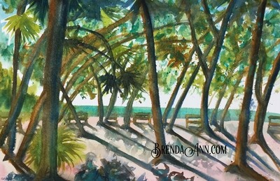 Fort Zachary State Park in Key West, FL - Hand Signed Archival Watercolor Print