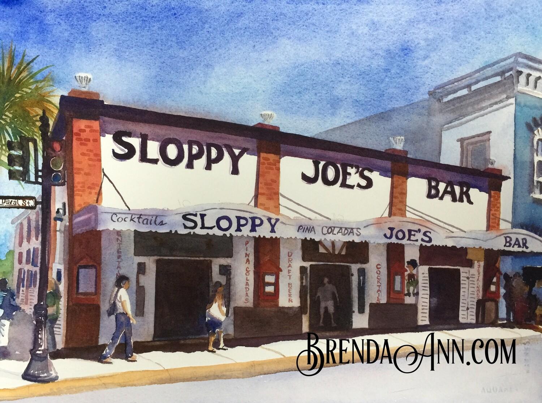 Sloppy Joe's Bar in Key West, FL - Hand Signed Archival Watercolor Print