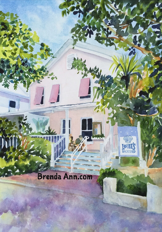Louie's Backyard in Key West, FL - Hand Signed Archival Watercolor Print