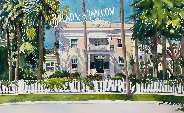 Weatherstation Inn in Key West, FL - Hand Signed Archival Watercolor Print