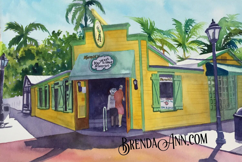 Kermit's Key West Lime Shoppe in Key West, FL - Hand Signed Archival Watercolor Print