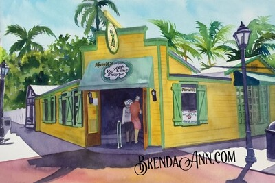 Kermit's Key West Lime Shoppe in Key West, FL - Hand Signed Archival Watercolor Print