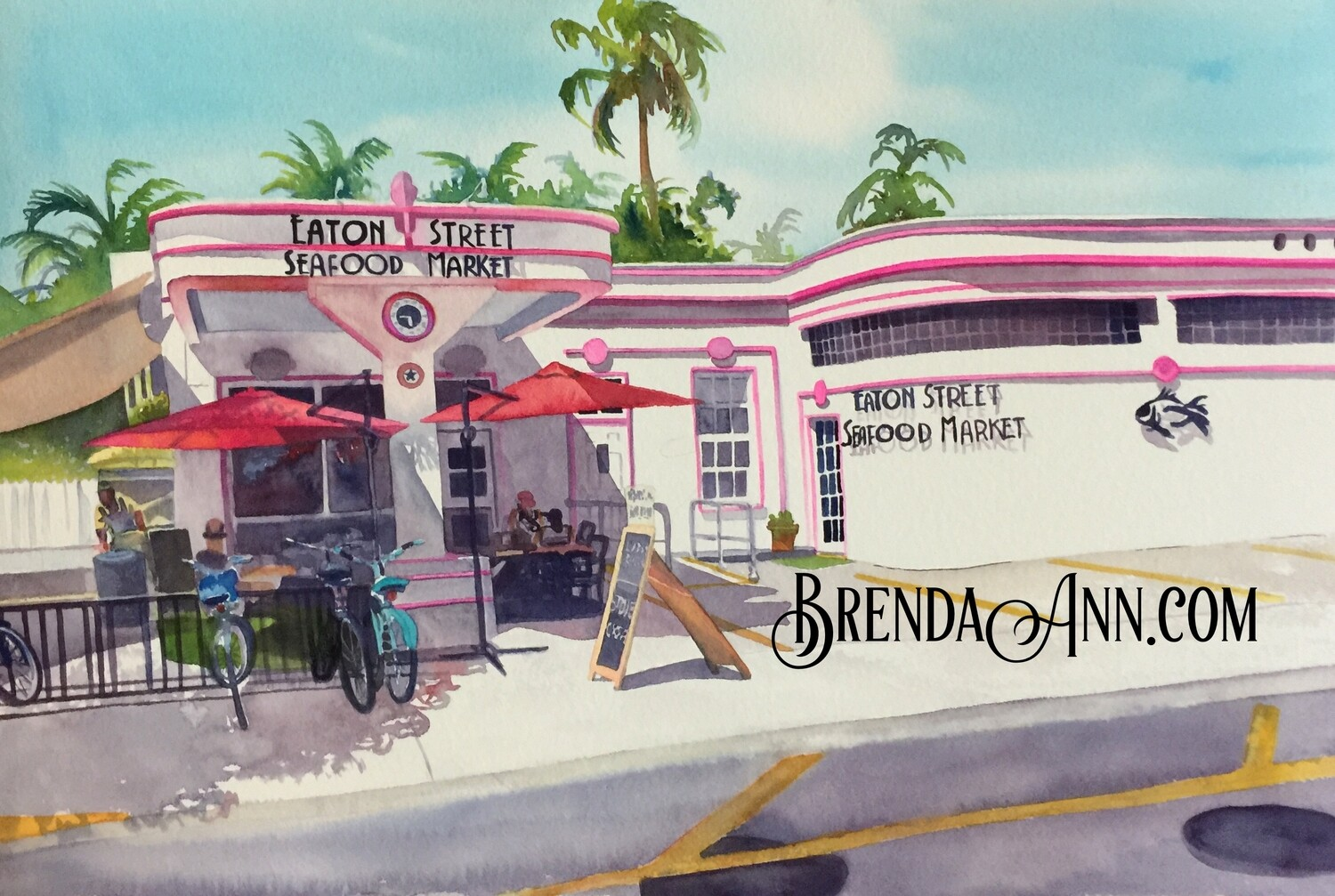 Eaton Street Seafood Market in Key West, FL - Hand Signed Archival Watercolor Print