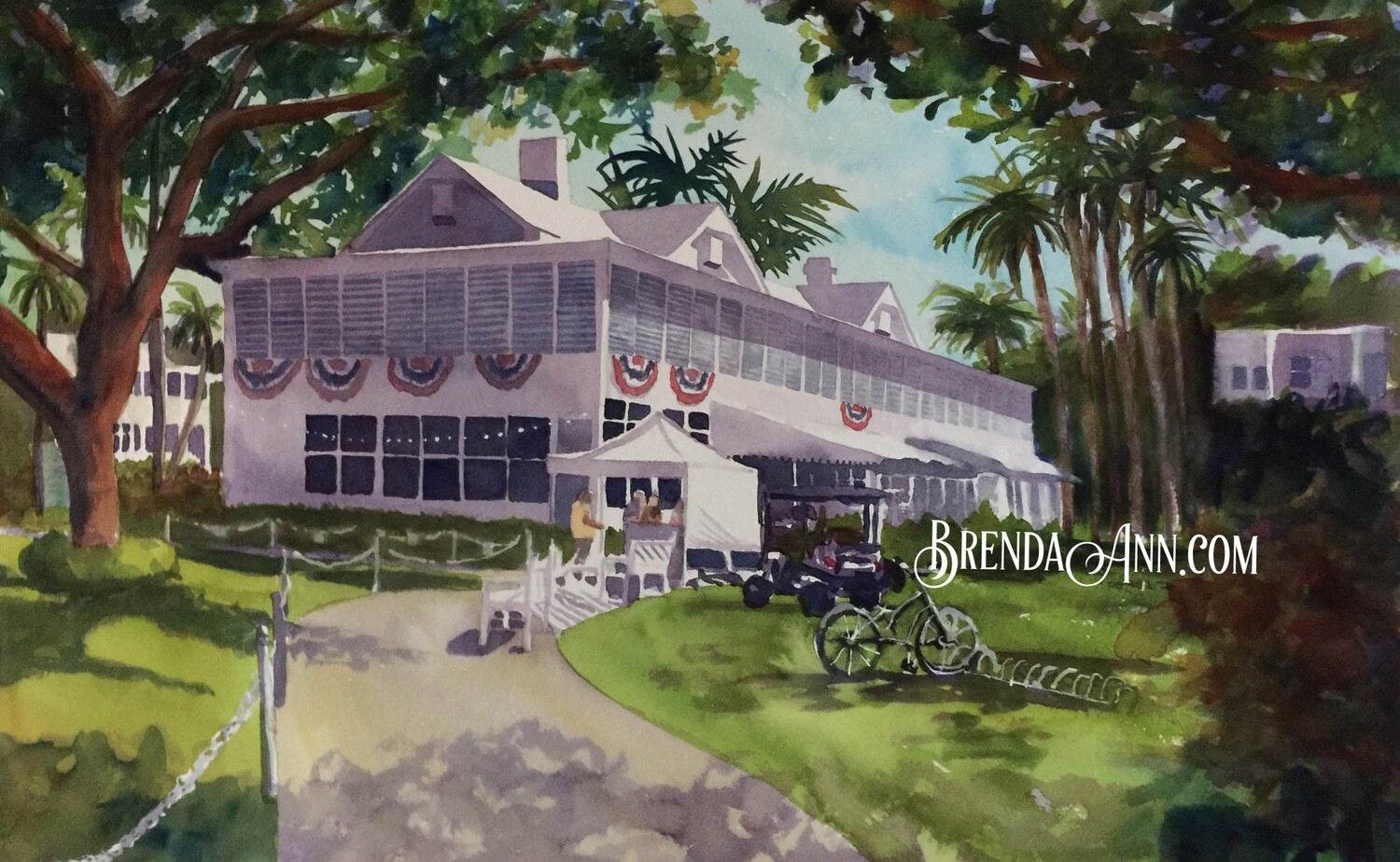 Harry S. Truman Little White House in Key West, FL - Hand Signed Archival Watercolor Print