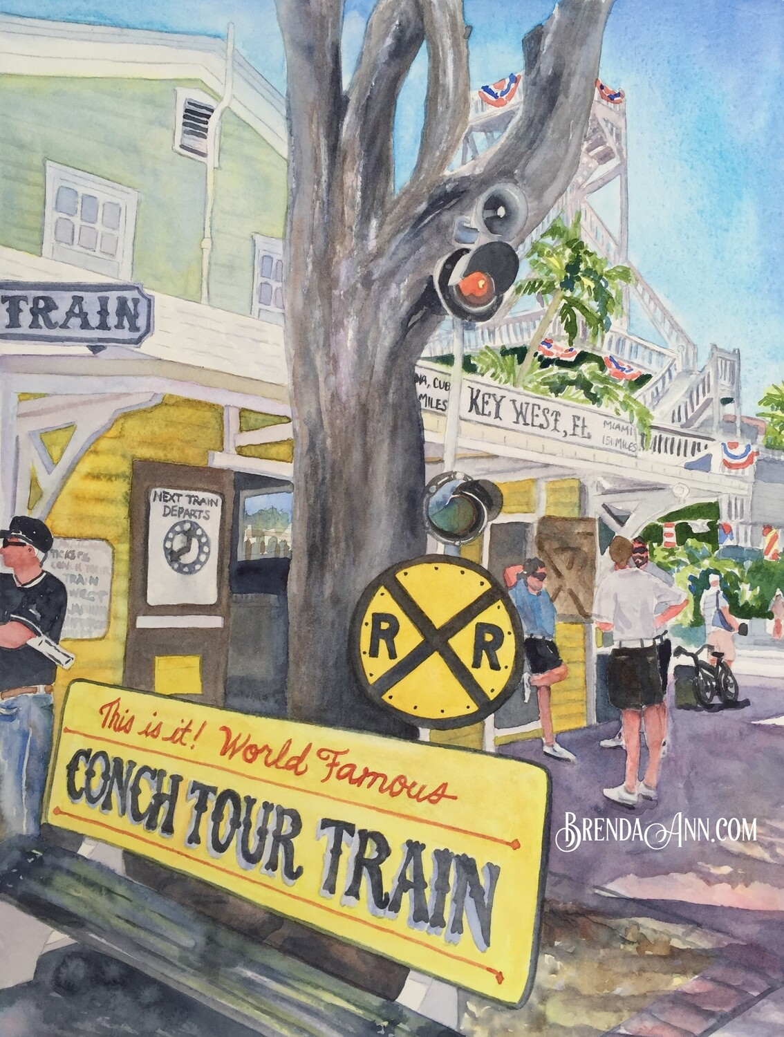 Conch Train Bench in Key West, FL - Hand Signed Archival Watercolor Print