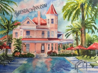 Southernmost House in Key West, FL - Hand Signed Archival Watercolor Print