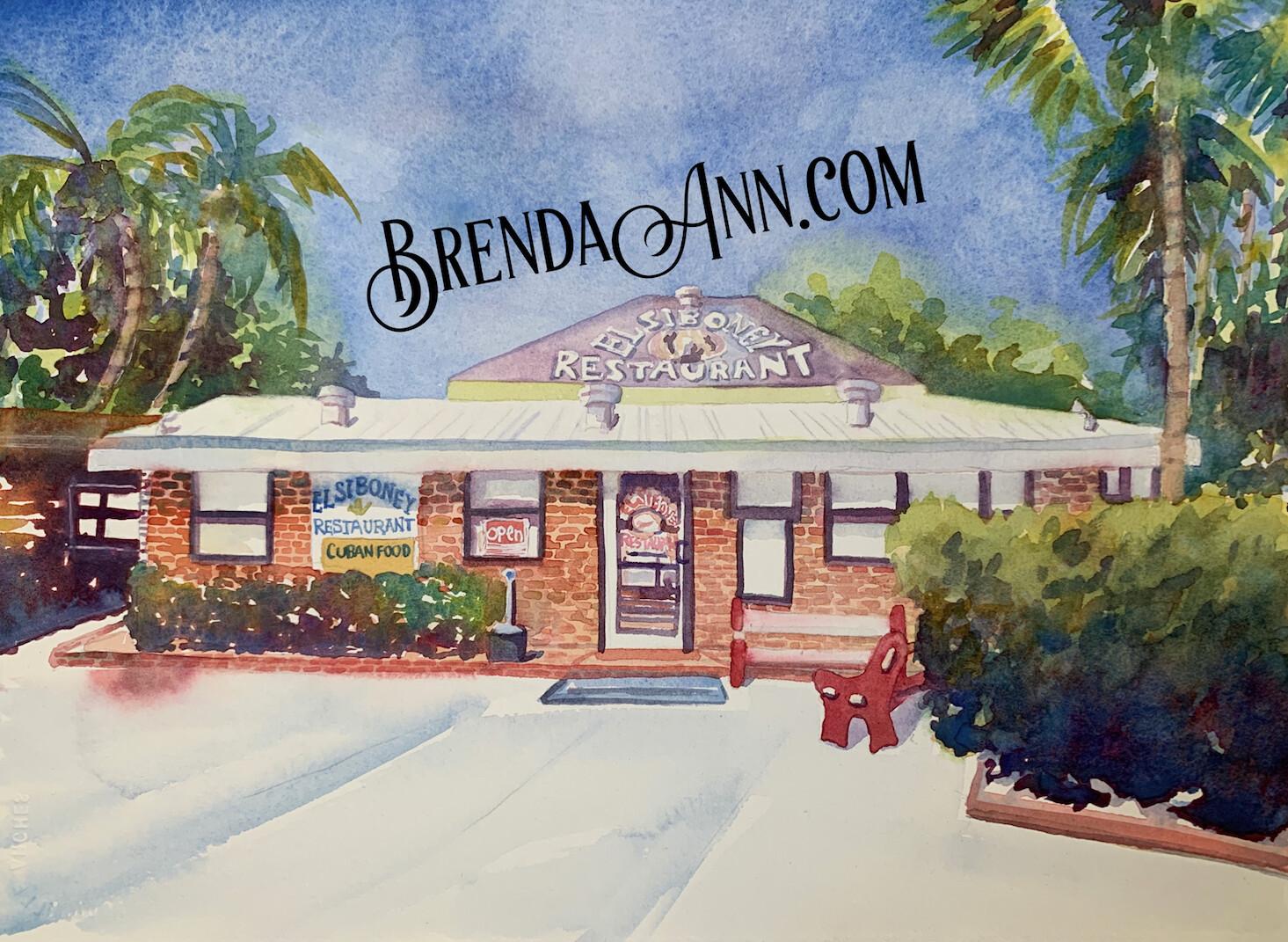 El Siboney Restaurant in Key West, FL - Hand Signed Archival Watercolor Print