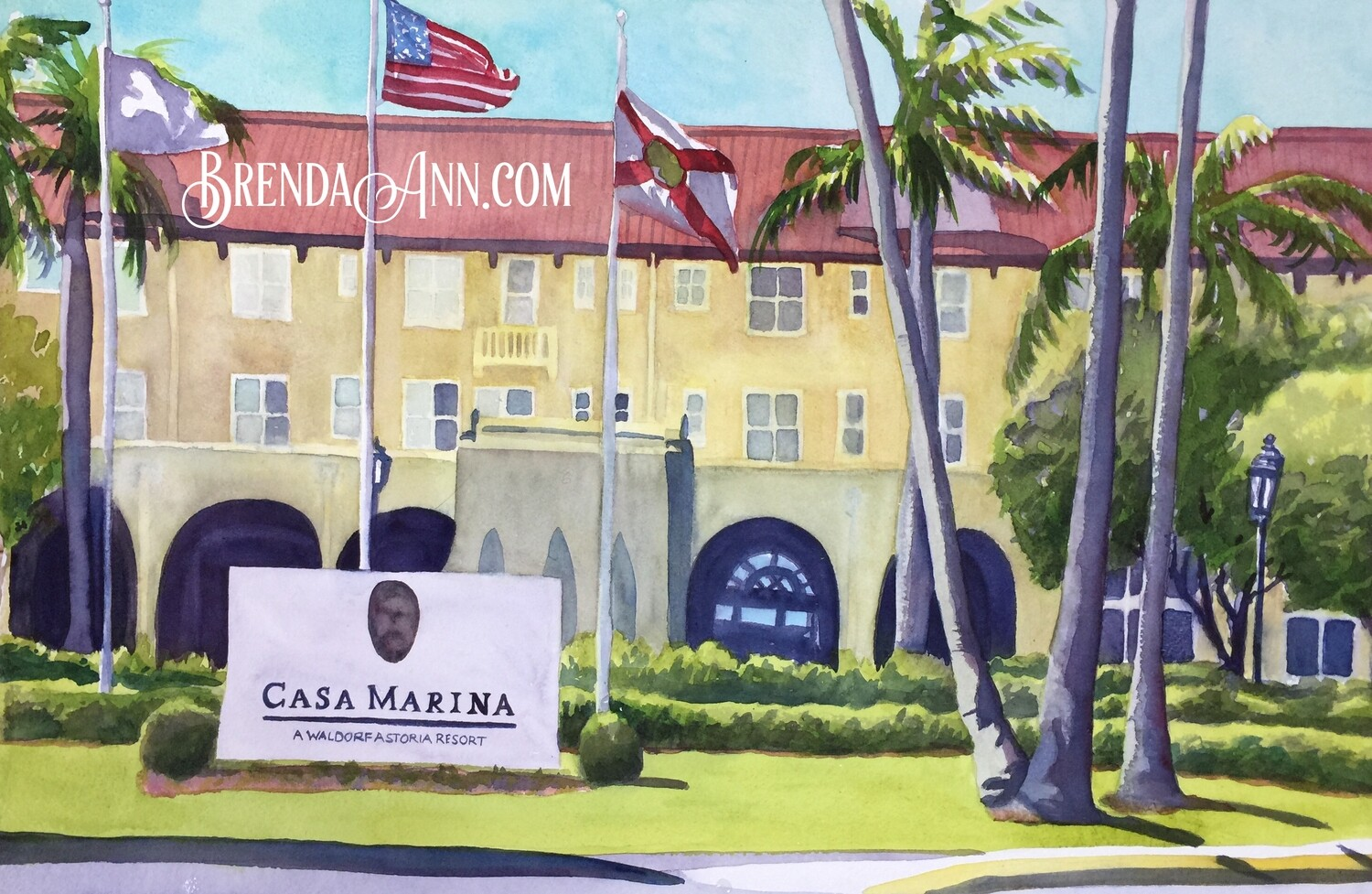 Casa Marina in Key West, FL - Hand Signed Archival Watercolor Print