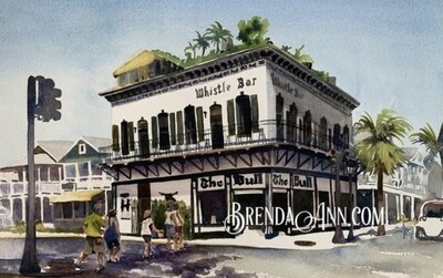 The Bull and Whistle Bar in Key West, FL - Hand Signed Archival Watercolor Print