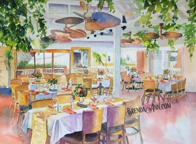 Rooftop Cafe in Key West, FL - Hand Signed Archival Watercolor Print