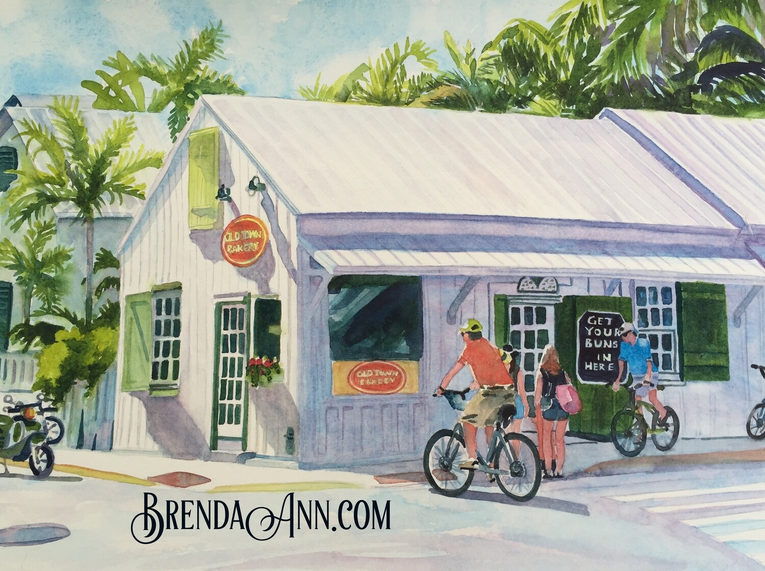 Old Town Bakery in Key West, FL - Hand Signed Archival Watercolor Print