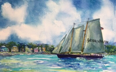 Schooner America in Key West, FL - Hand Signed Archival Watercolor Print