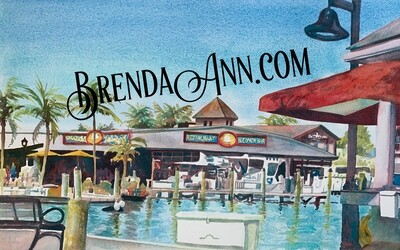 Conch Republic Seafood Company Restaurant in Key West, FL - Hand Signed Archival Watercolor Print