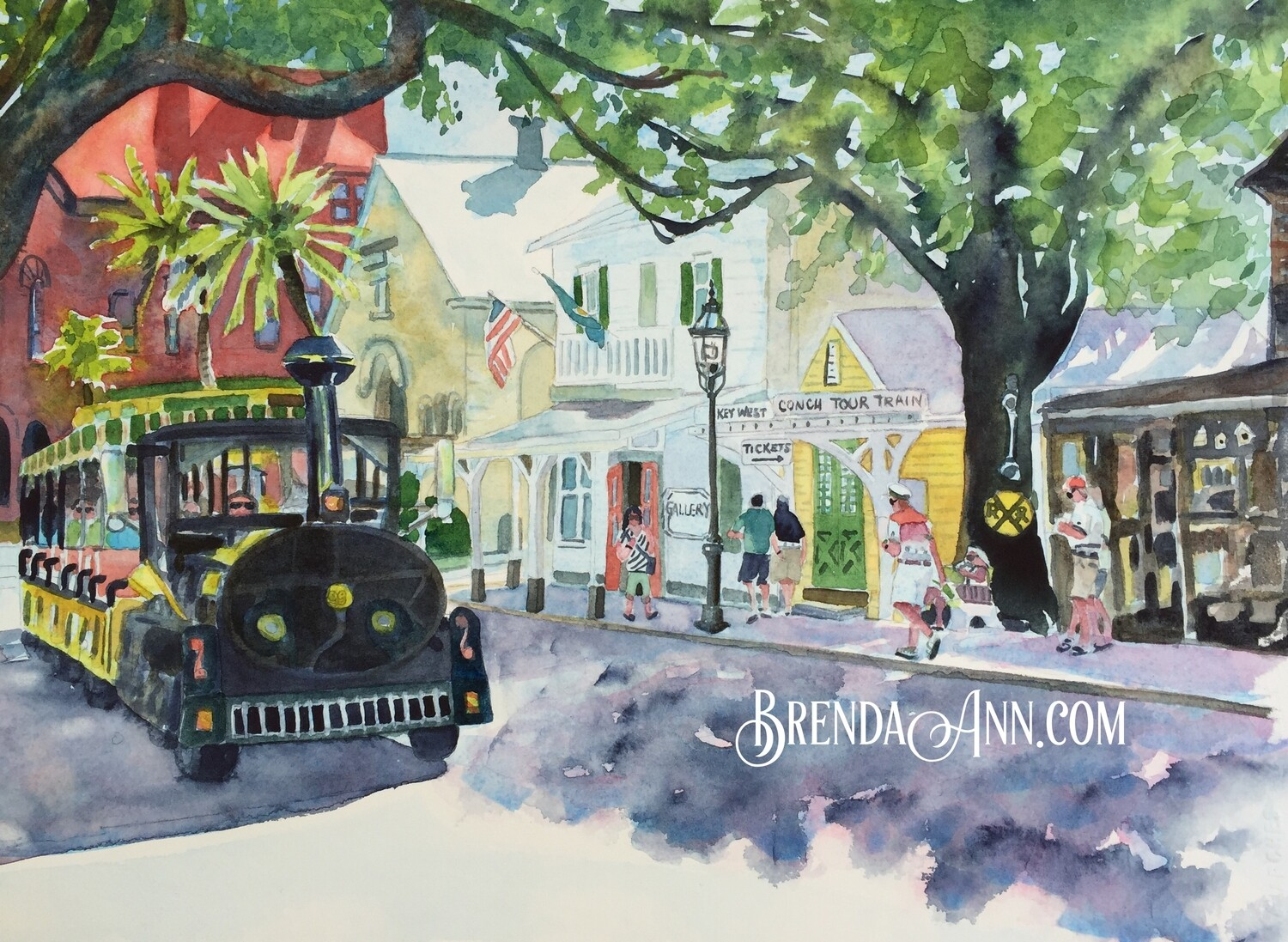 Conch Train in Key West, FL - Hand Signed Archival Watercolor Print