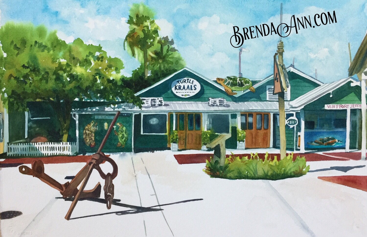 Turtle Kraals in Key West, FL - Hand Signed Archival Watercolor Print