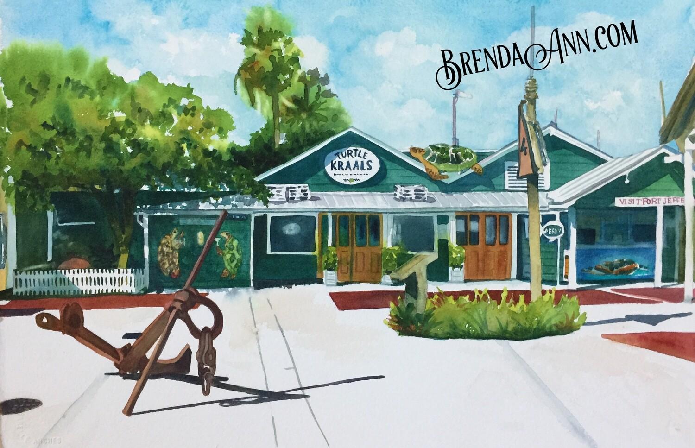Turtle Kraals in Key West, FL - Hand Signed Archival Watercolor Print