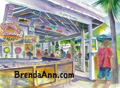 Flying Monkeys Saloon in Key West, FL - Hand Signed Archival Watercolor Print