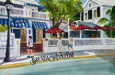 La Te Da in Key West, FL - Hand Signed Archival Watercolor Print