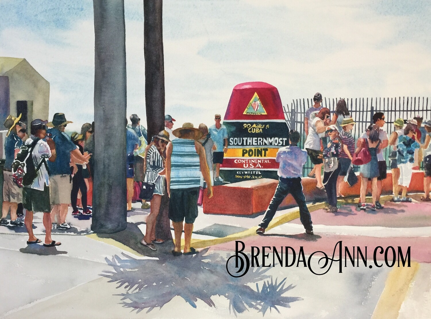 Southernmost Point in Key West, FL - Hand Signed Archival Watercolor Print
